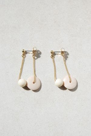 ピアス: チェーン&アクリル 「乳白色の絶景」