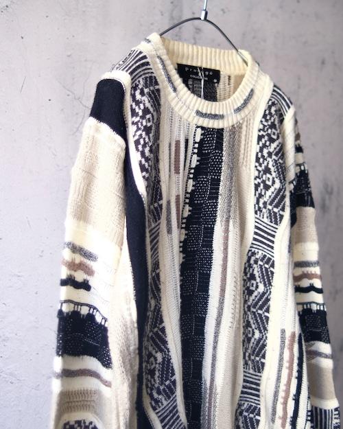 crazy pattern knit sweater②