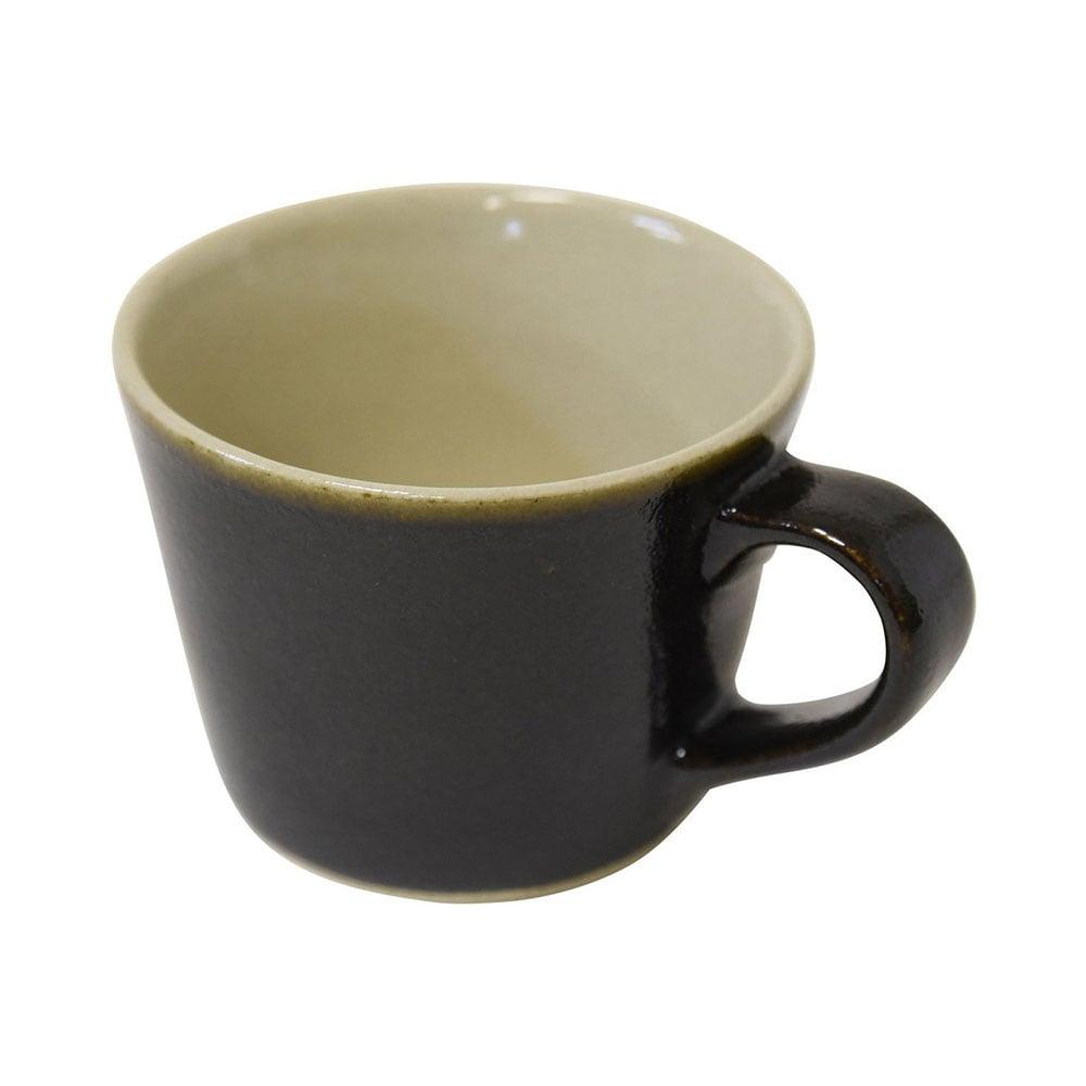 益子焼 つかもと窯 「伝統釉」 デミタスカップ 200ml コーヒーカップ ゆず肌黒釉 KKC-2