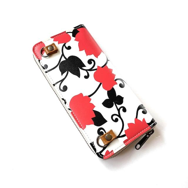 【ハシモト産業 x pink india】北欧デザイン ストラップホルダー付牛革ラウンド財布 | matthew red