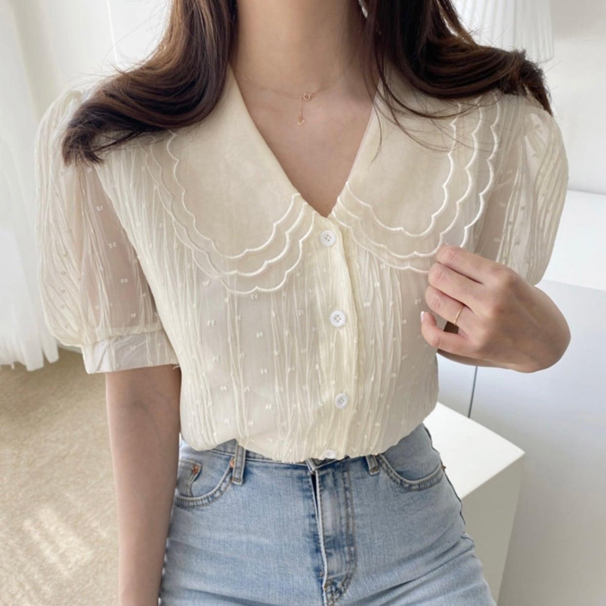 dot see-through girly blouse [2105-18]