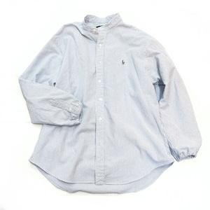 【USED】リメイク ラルフローレン バンドカラーシャツ ブルー ストライプ XL