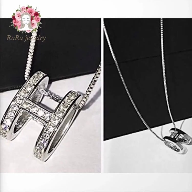 initial H necklace / silver 925