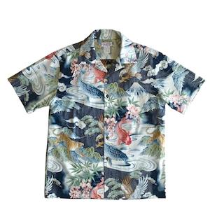 Mountain Men's オープンアロハシャツ / 鯉 虎 鷹 富士 Navy