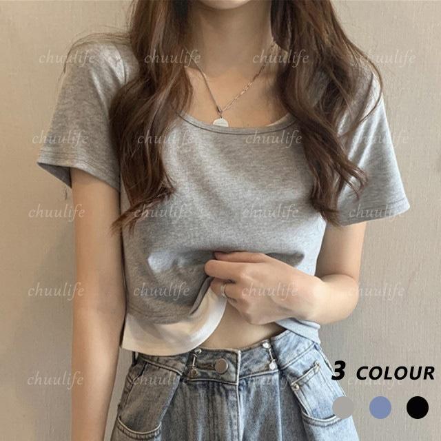 【トップス】ファッションラウンドネックフェイクレイヤード切り替えTシャツ43176290