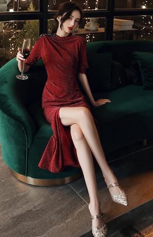 ワインレッド フィッシュテール  ベルベット パーティードレス TM0134