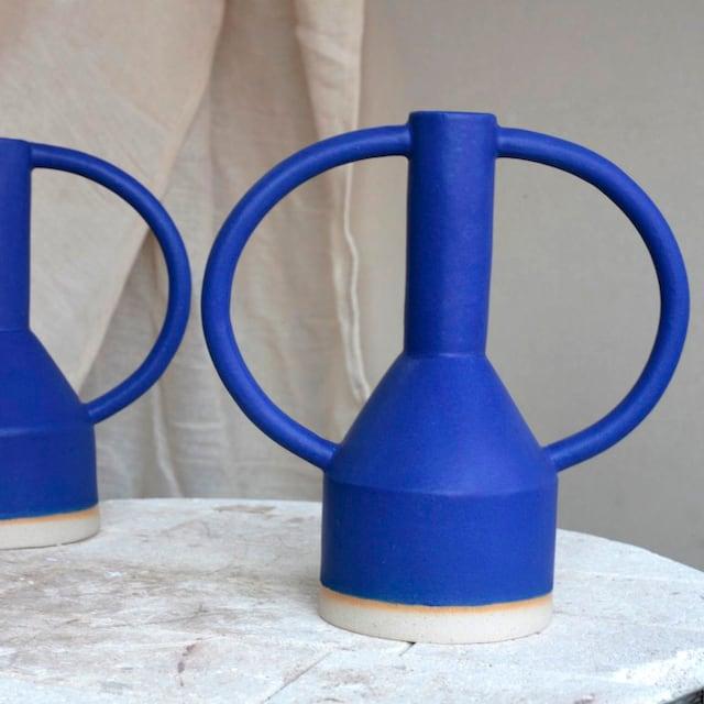 "Sophie Alda ""Extra large jug eared vase in bright bright blue"""