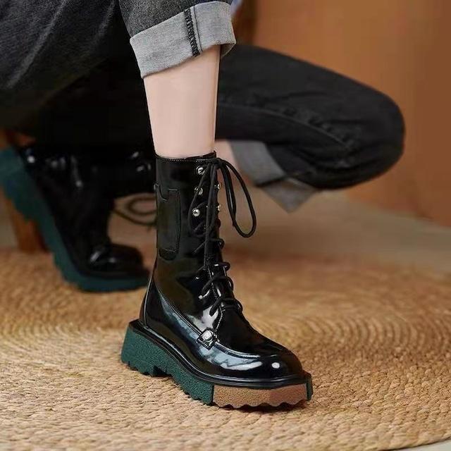 【シューズ】切り替えシンプルPU個性的ファッション無地ブーツ52767478