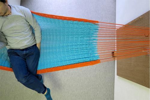 """ハンモック  """"Bed-mock""""  ( Turquoise blue × Orange line )    Size-S  (180cm)"""