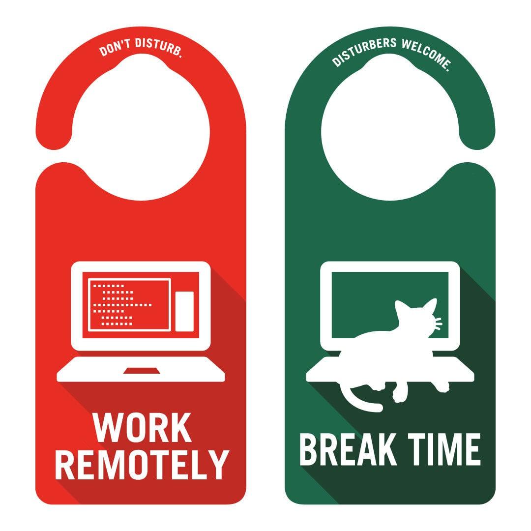 WORK REMOTELY(リモートワーク中)[1005] 【全国送料無料】ドアサイン ドアノブプレート