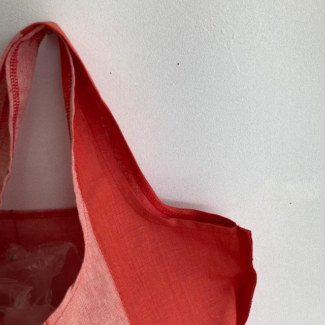 リネン エコ バッグ 手作り ストライプ レッド ハンドメイド マルシェバッグ 洗える 軽い ワンショルダー