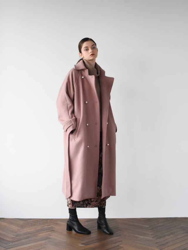 pearl button coat(baked pink)