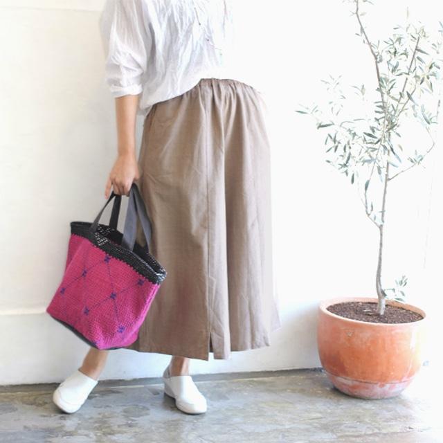 手織りコットンスリットスカンツ【草木染めベージュ】