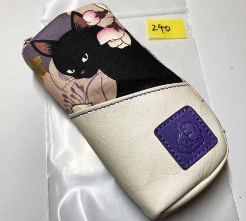 黒猫と革のL字ファスナーポーチ(紫x白) [240-pt]