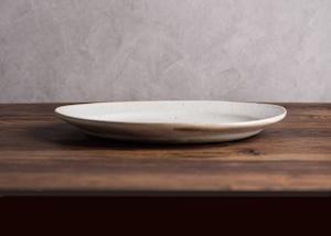 鉄散 楕円リム皿 ⼤(オーバル・大皿・粉引)/古谷 浩一