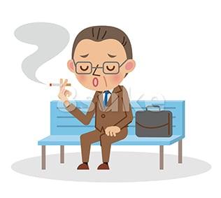 イラスト素材:ベンチに座ってたばこを吸う中年のビジネスマン(ベクター・JPG)