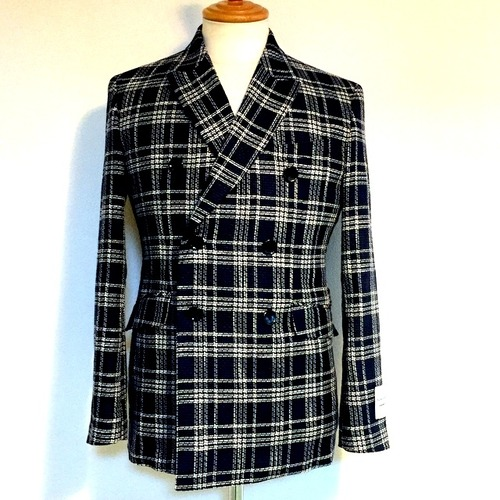 DUEMILACORI Check W-Breasted Jacket Blue