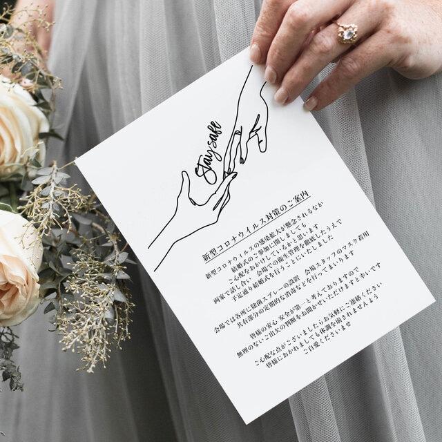 結婚式 コロナウイルス感染対策ご案内カード │84円~/部 ハンドサイン