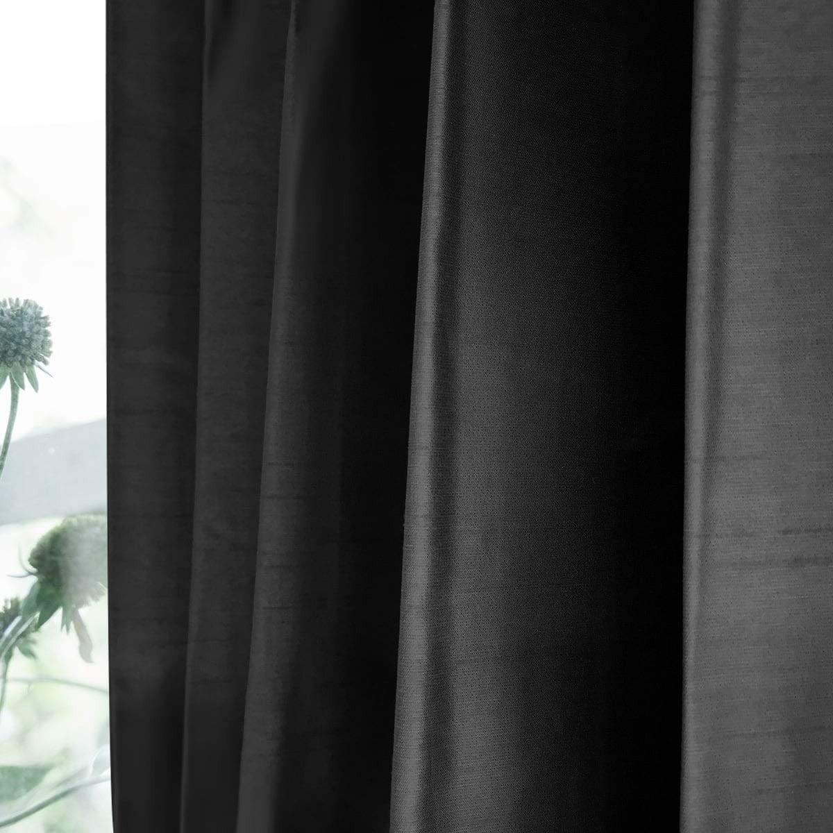シャイニー/ブラック 完全遮光 1級遮光 遮熱・断熱 防音 形状記憶加工 ウォッシャブル カーテン 2枚入 / Aフック サイズ(幅×丈):100×200cm kso-032-100-200