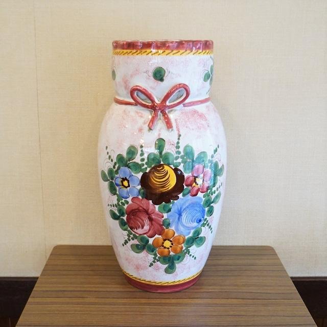 イタリア製 大きなハンドペイントのつぼ(花瓶)