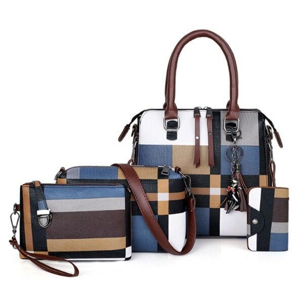 チェック柄 高級ハンドバッグ 2020タッセル財布とハンドバッグセット4ピースバッグ ボルサフェミニナ Blue