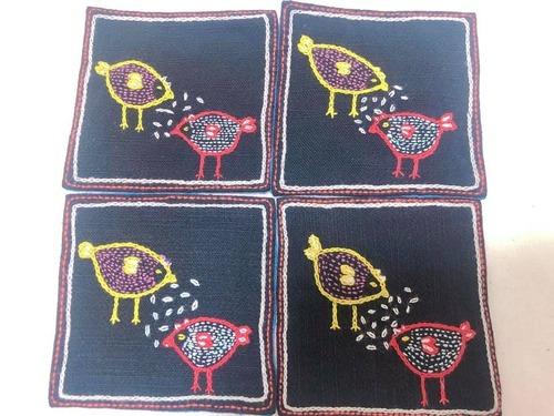 レンテン族 刺繍コースター とり