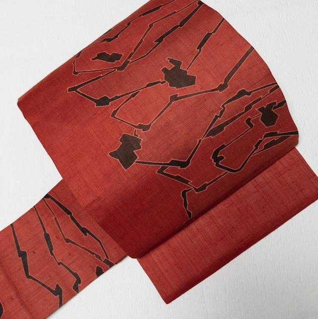 【締め跡なし】9寸名古屋帯 紬地染め 前柄2パターン レッドブラウン×焦げ茶
