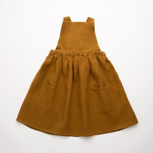 Nellie Quats Conkers Pinafore - Burnt Caramel Linen