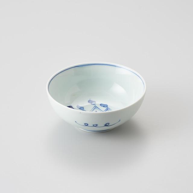 """【青花】""""クラシック異人"""" 4寸ボウル(オランダ船)"""