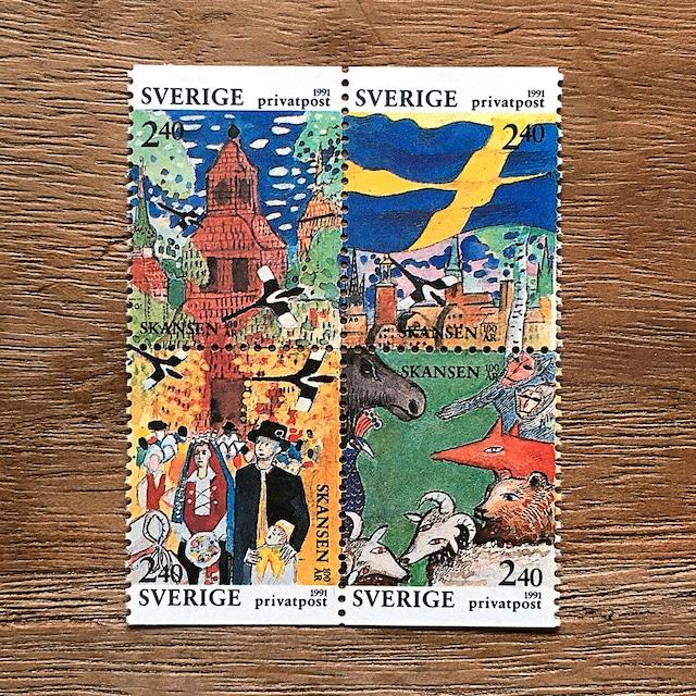 切手(未使用)「屋外民俗博物館スカンセン100周年:ブロック - 4枚構成(1991年発行)」