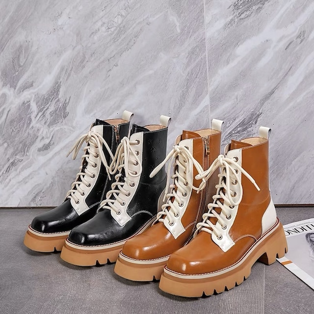 leather brown sole boots