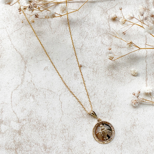 14kgf Maria Medal Charm Necklace
