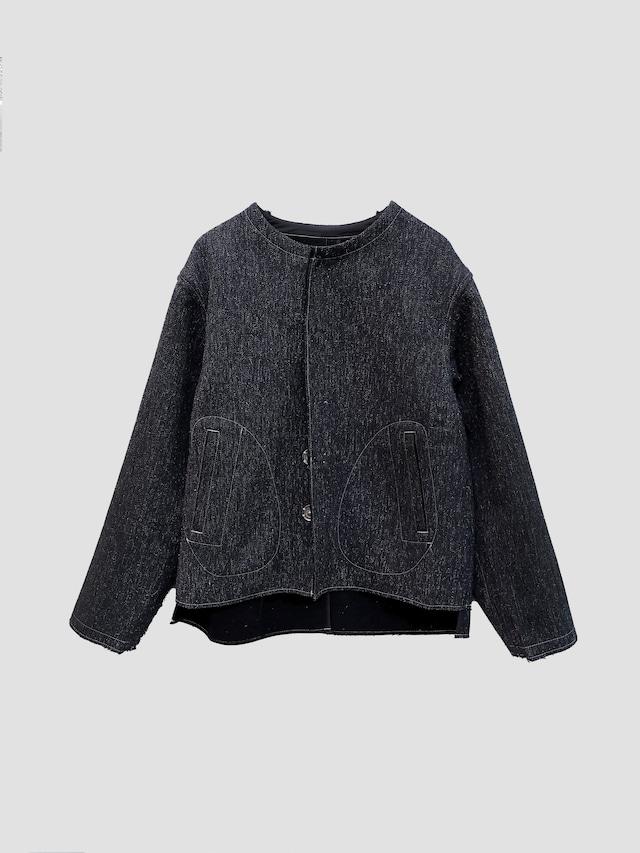 KHOKI H no collar jacket Black 21aw-jk-06