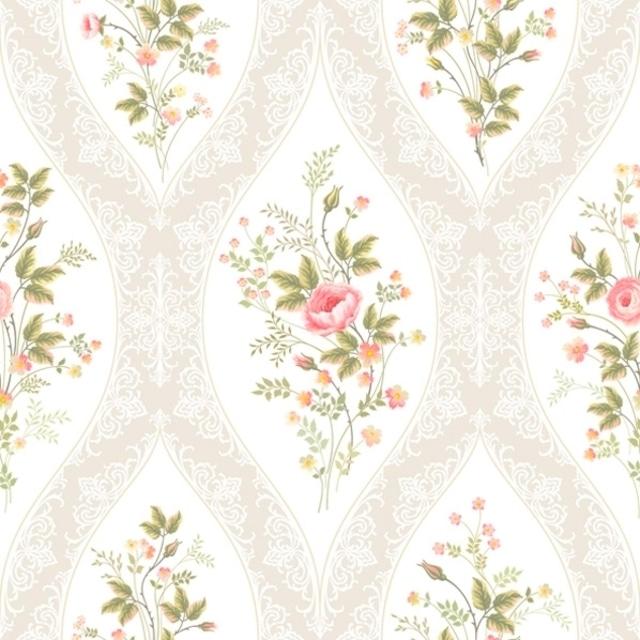 【Daisy】バラ売り2枚 ランチサイズ ペーパーナプキン Floral Charming Wallpaper ホワイト