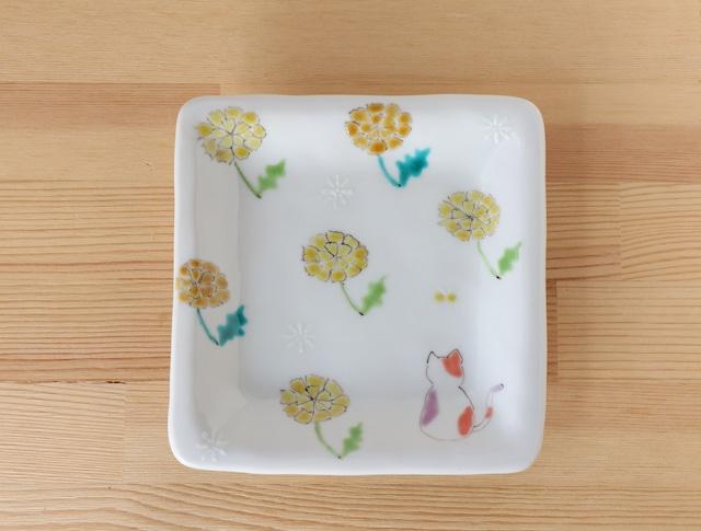 三毛猫みーちゃん(春) 角皿(工房直売価格)