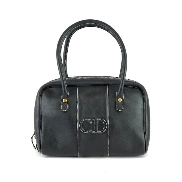 Christian Dior クリスチャン ディオール CD ロゴ ステッチ ハンドバッグ ミニボストンバッグ ブラック vintage ヴィンテージ オールド 8s5xrt