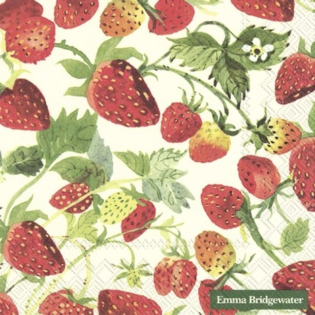 【Emma Bridgewater】バラ売り2枚 ランチサイズ ペーパーナプキン STRAWBERRIES クリーム