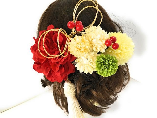 祝い花*赤白ダリアの髪飾りセット