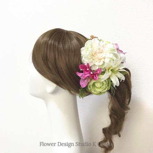リゾートウェディングに♡ダリアとラナンキュラスのヘッドドレス(15本セット) プルメリア ブーゲンビリア ブライダル 花嫁ヘア 結婚式 成人式