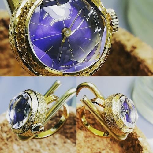 【ビンテージ時計】1972年10月製造 セイコー指輪時計 日本製当時の指輪時計最高級モデル18K ケース