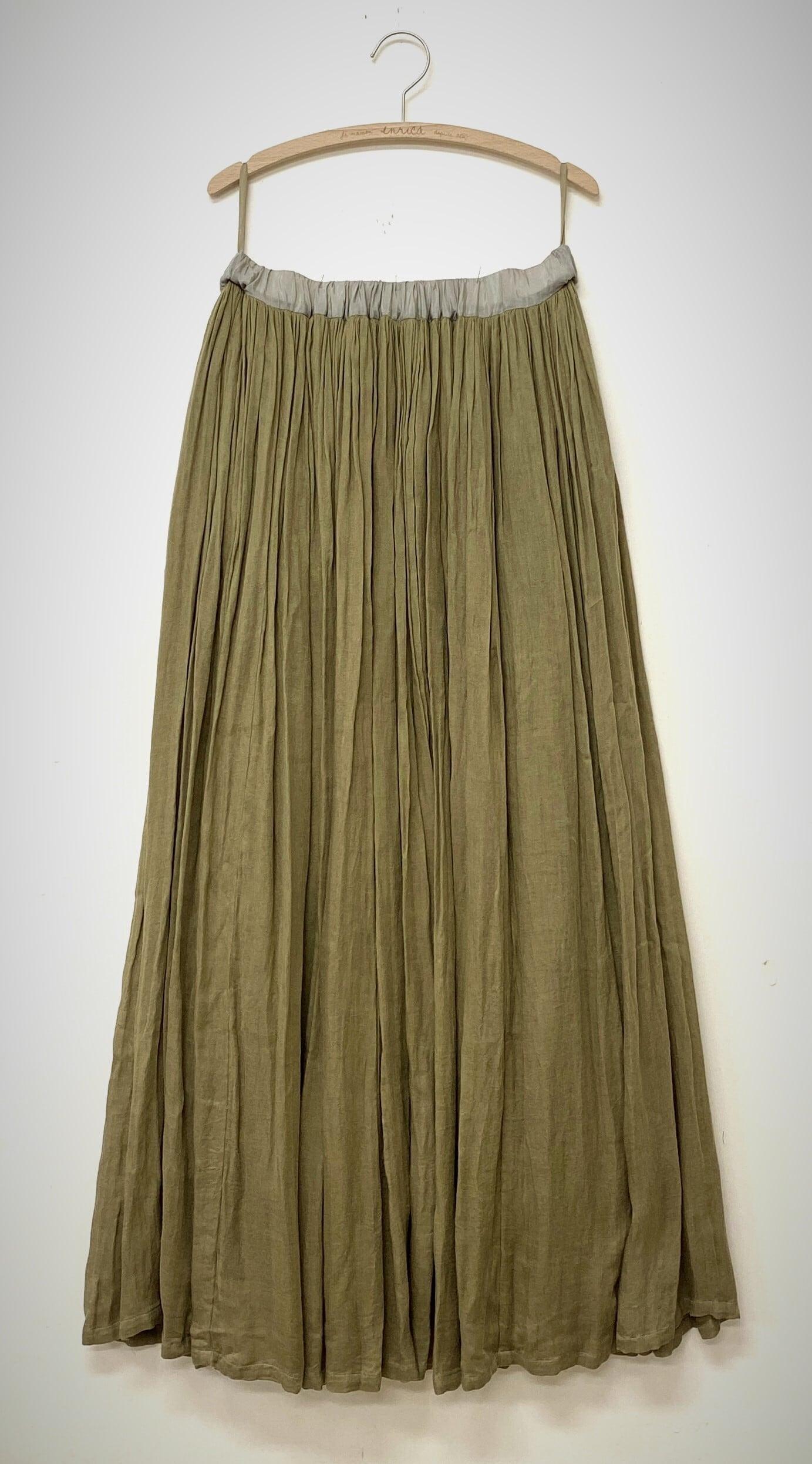 ダブルガーゼ素材のロングギャザースカート
