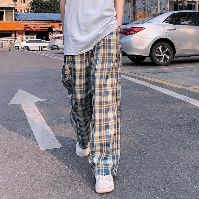 【ボトムス】韓国系チェック柄ハイウエストレギュラー丈カジュアルパンツ29064511