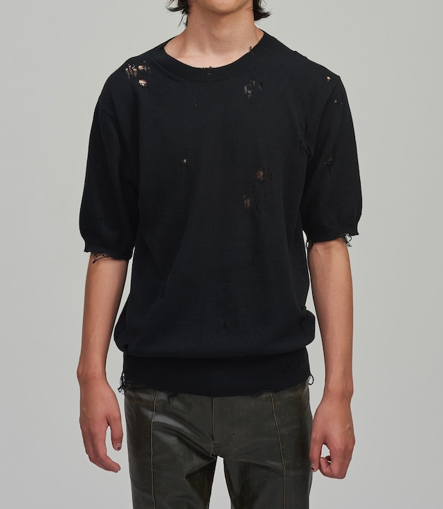 BED J.W. FORD /  Damage half sleeves knit(BLACK)