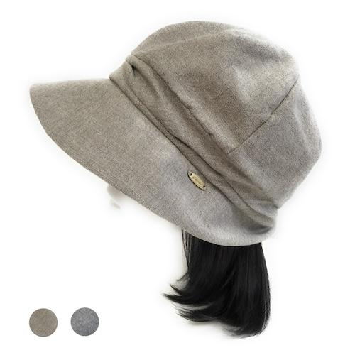 リネン混のクロシェット帽子 つけ毛付き:wig/ミディアムロング/ フリーサイズ