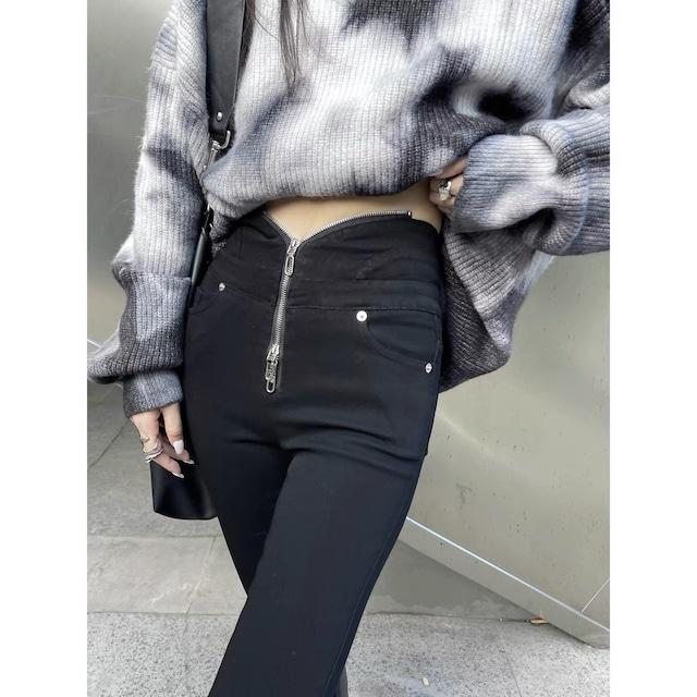 zipper design waist pants