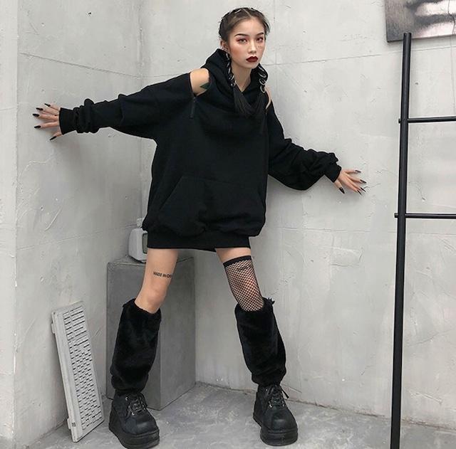 【トップス】チェーン透かし雕りストリート系個性的パーカー42919097