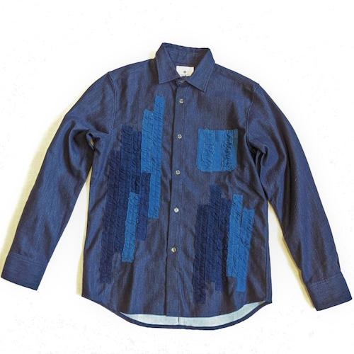 <OSOCU×HandWorks>備後節織 パッチワークデザイン レギュラーカラー フリルシャツ 「飾」 日本製