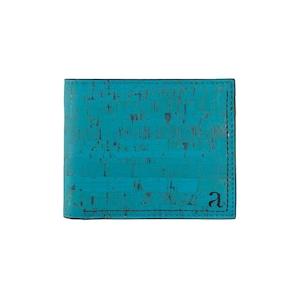 VEGAN  SLIMFOLD WALLET  TEAL/ 二つ折り財布 ティール コルク製