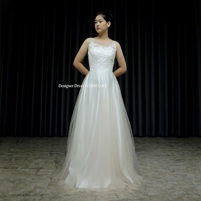 【オーダー制作】ウエディングドレス(無料パニエ) ウエディングスレンダーアイボリーチュール挙式ドレス.フォトウエディング.ガーデン※制作期間3週間から6週間