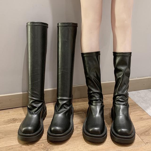 【シューズ】ファッション丸トゥ厚底ロング丈ブーツ50058600
